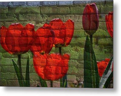 Tulips On Bricks Metal Print