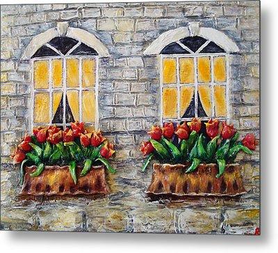 Tulips On The Wall Metal Print