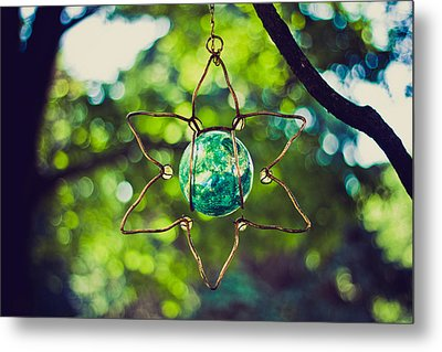 Turquoise Light Metal Print by Sara Frank