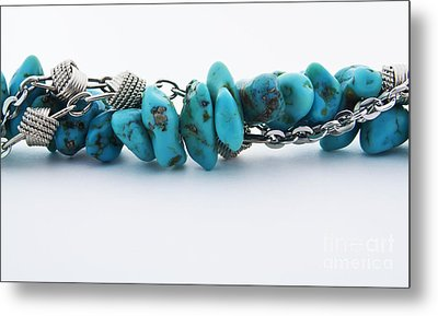 Turquoise Stones And Silver Chain Metal Print by Blink Images