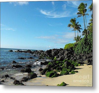 Turtle Beach Oahu Hawaii Metal Print by Rebecca Margraf