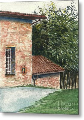 Metal Print featuring the painting Tuscan Brick And Bamboo by Joan Hartenstein