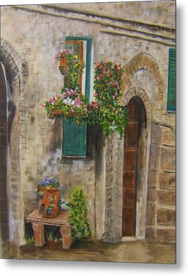 Tuscan Window Metal Print by Maureen Pisano