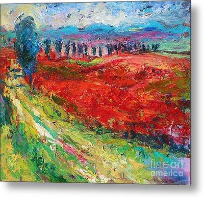 Tuscany Italy Landscape Poppy Field Metal Print by Svetlana Novikova