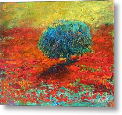 Tuscany Poppy Field Tree Landscape Metal Print by Svetlana Novikova