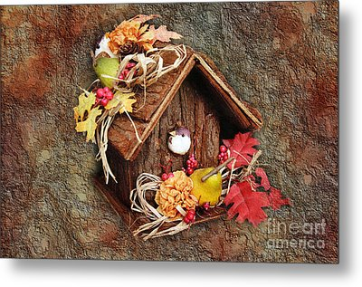 Tweet Little Bird House Metal Print by Andee Design