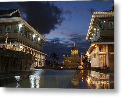 Metal Print featuring the pyrography Twilight In Brunei  by Gary Bridger