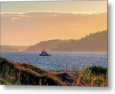 Twilight Tug -chambers Bay Golf Course Metal Print by Chris Anderson