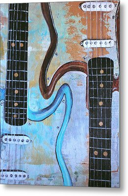 Twin Guitars Metal Print by Mary Kay Holladay