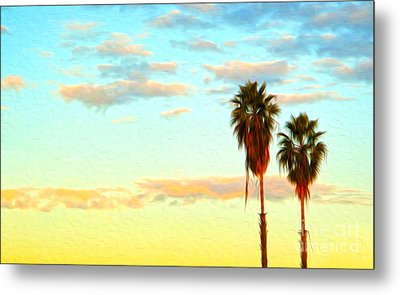 Metal Print featuring the painting Twin Palms by Gregory Dyer