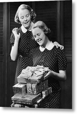 Twin Teenage Girls W/ Wrapped Gifts Metal Print by George Marks