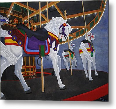 Metal Print featuring the painting Twirling Trio by Paul Amaranto