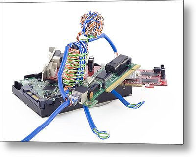 Twisted Man Assemblage The Computer Metal Print