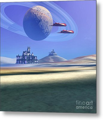 Two Aircraft Guard This Alien Planet Metal Print by Corey Ford