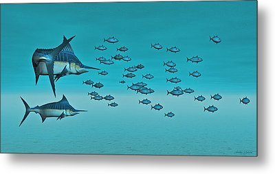 Metal Print featuring the digital art Two Blue Marlin by Walter Colvin