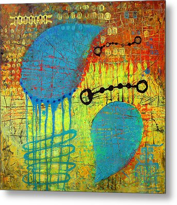 Metal Print featuring the painting Two Blue Object by Lolita Bronzini