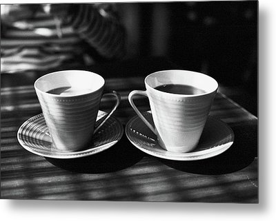 Two Cups Of Coffee In Sunlight Metal Print by Breeze.kaze
