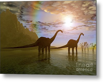 Two Diplodocus Dinosaurs Wade Metal Print by Corey Ford