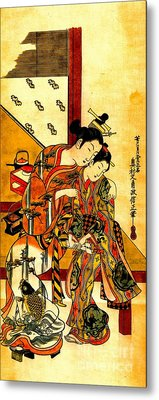 Two Girls Whispering 1743 Metal Print