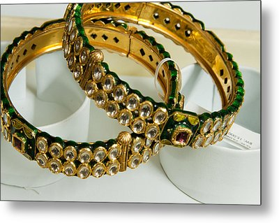 Two Green And Gold Bangles On Top Of Each Other Metal Print by Ashish Agarwal