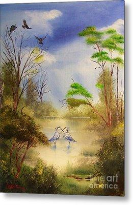 Two Herons Metal Print by Crispin  Delgado