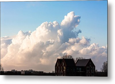 Two Houses One Cloud Metal Print by Semmick Photo