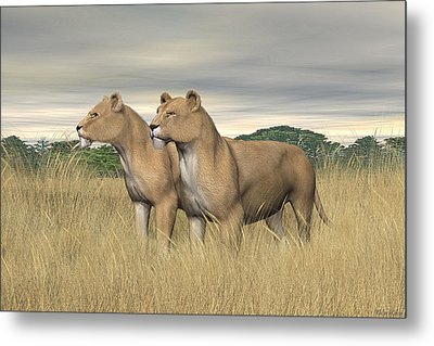 Metal Print featuring the digital art Two Hunters by Walter Colvin