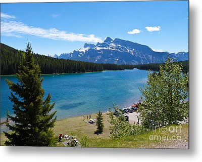 Two Jack Lake Metal Print by Bob and Nancy Kendrick