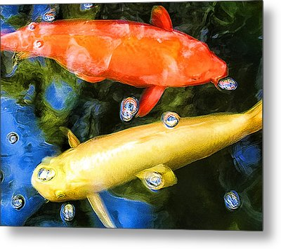 Metal Print featuring the photograph Two Koi Cruising by Paul Cutright