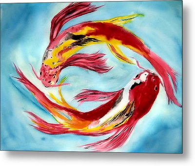 Two Koi For Words Metal Print by Alethea McKee
