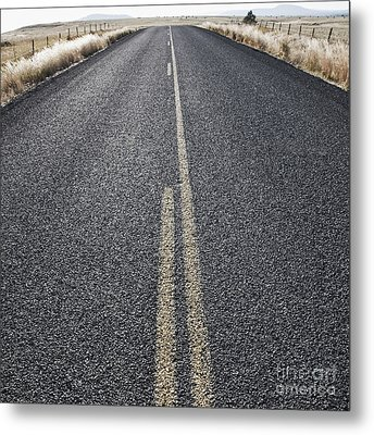 Two Lane Road Between Fenced Fields Metal Print by Jetta Productions, Inc