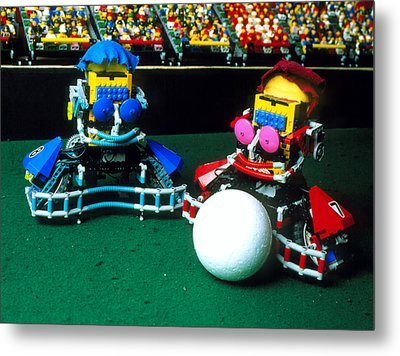 Two Lego Footballers With A Ball At Robocup-98 Metal Print by Volker Steger