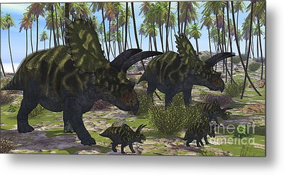 Two Mother Coahuilaceratops Escort Metal Print by Corey Ford