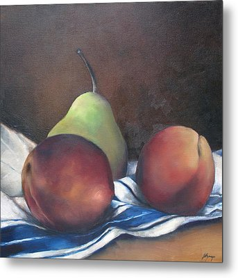 Two Peaches And A Pear Metal Print by Julie Dalton Gourgues
