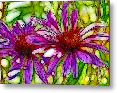 Two Purple Daisy's Fractal Metal Print by Donna Greene