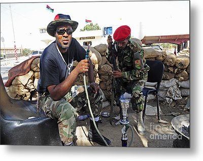 Two Rebel Fighters Man A Checkpoint Metal Print by Andrew Chittock