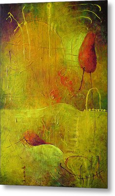 Metal Print featuring the painting Two Red Objects by Lolita Bronzini
