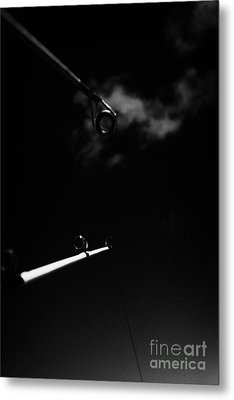 Two Rods And Lines Against Blue Sky Metal Print by Joe Fox