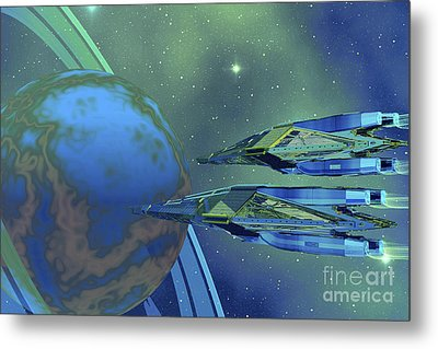 Two Spacecraft Fly To Their Home Planet Metal Print by Corey Ford