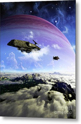 Two Spacecraft Prepare To Depart Metal Print by Brian Christensen