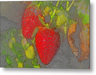 Two Strawberries Metal Print by David Lee Thompson