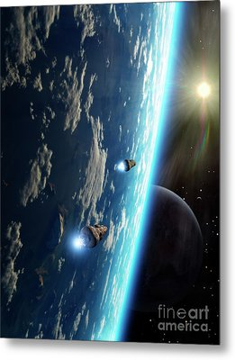 Two Survey Craft Orbit A Terrestrial Metal Print by Brian Christensen