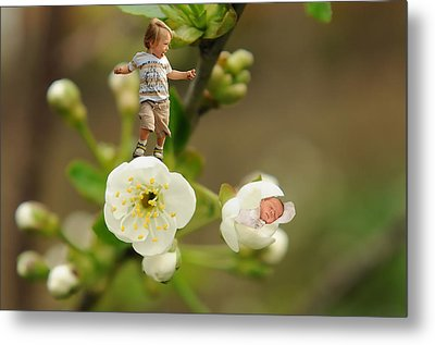 Two Tiny Kids Playing On Flowers Metal Print by Jaroslaw Grudzinski