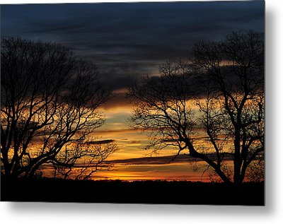 Two Tree Sunrise Metal Print by Peter  McIntosh