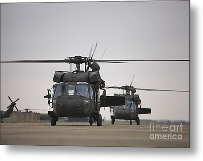 Two Uh-60 Black Hawks Taxi Metal Print by Terry Moore