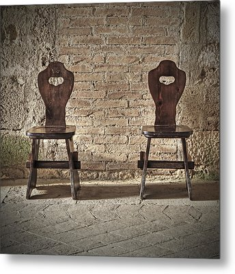 Two Wooden Chairs Metal Print by Joana Kruse