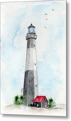 Metal Print featuring the painting Tybee Light by Doris Blessington