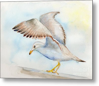 Metal Print featuring the painting Tybee Seagull by Doris Blessington