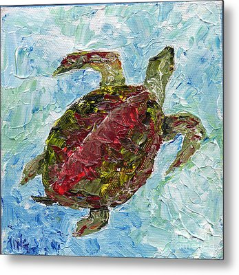 Metal Print featuring the painting Tybee Turtle Swimming by Doris Blessington