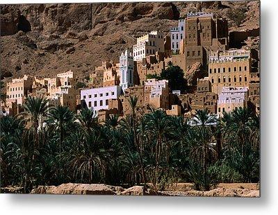 Typical Hadramawt Village With Date Plantation In Foreground, Wadi Daw'an, Yemen Metal Print by Frances Linzee Gordon